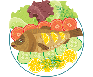 image of fish served with lemon slices and salad